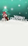Snowman Merry Christmas turquoise Stock Photography