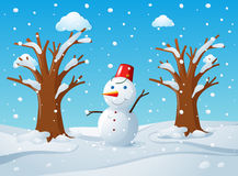 Snowman in the middle of the snow ground Royalty Free Stock Photos