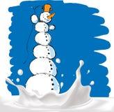 Snowman on milk splash - vector illustration Stock Image