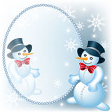Snowman and mirror Royalty Free Stock Photos