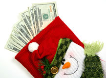 Snowman money bag Royalty Free Stock Photos