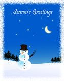 Snowman and moon. Winter illustration. Stock Images
