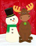 Snowman and Moose Royalty Free Stock Images