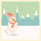 Snowman in the mountains Royalty Free Stock Images