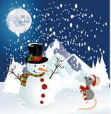 Snowman and mouse christmas background Royalty Free Stock Photography