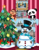 Snowman With Mustache Wearing A Hat And Blue Scarf with christmas tree and fire place Illustration. Colourfull Stock Photos
