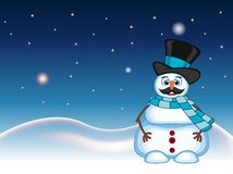 Snowman with mustache wearing a hat and blue scarf for your design vector illustration Royalty Free Stock Image