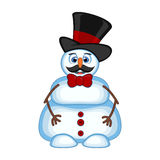 Snowman with mustache wearing a hat and bow ties for your design vector illustration Royalty Free Stock Image