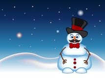 Snowman with mustache wearing a hat and bow ties for your design vector illustration Stock Image