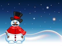 Snowman with mustache wearing a hat, red sweater and a red scarf with star, sky and snow hill background for your design vector il Royalty Free Stock Photos