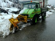 Snowblower in my village stock images