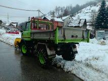 Snowblower in my village stock photos