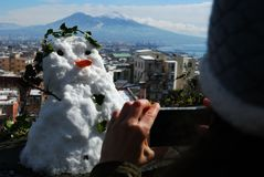 Snowman in Naples stock images