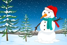 A snowman in nature. Illustration royalty free illustration