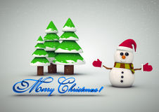 Snowman near the Christmas tree. Christmas card with Christmas tree and snowman stock illustration