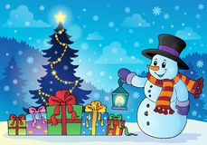 Snowman near Christmas tree theme 1 Royalty Free Stock Images