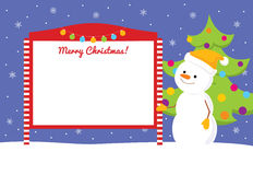 Snowman near street notice board Royalty Free Stock Image