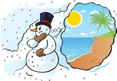 Snowman needs a vacation Royalty Free Stock Photography