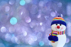 Snowman with neon background. Royalty Free Stock Photography
