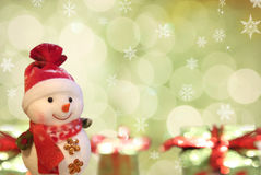 Snowman with neon background. Stock Image