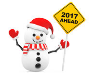 Snowman with 2017 New Year Ahead Sign. 3d Rendering Royalty Free Stock Photo