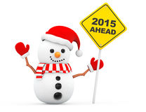 Snowman with 2015 New Year Ahead Sign Royalty Free Stock Photography