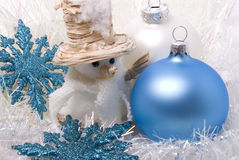 Snowman and New-year balls. New-year toys balls snowman and snowflakes Royalty Free Stock Photography
