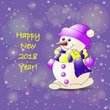 Snowman 2018 year-2. Snowman 2018 new year color Royalty Free Stock Image