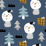 Snowman new year eve. Vector seamless background patterns in Scandinavian style,Christmas funny characters and elements for fabric design, wrapping paper stock illustration