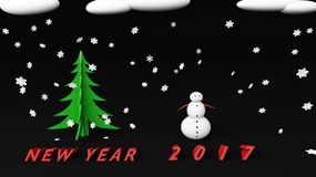 Snowman new year 2017. Snowman with snow cloud 2017 Royalty Free Stock Images