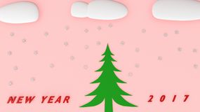 Snowman new year 2017. Snowman with snow cloud 2017 Stock Images