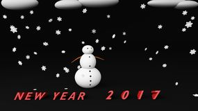 Snowman new year 2017. Snowman with snow cloud 2017 Stock Image