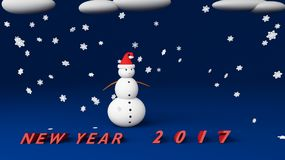 Snowman new year 2017. Snowman with snow cloud 2017 Royalty Free Stock Photography