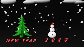 Snowman new year 2017. Snowman with snow cloud 2017 Royalty Free Stock Image