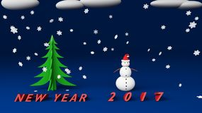 Snowman new year 2017. Snowman with snow cloud 2017 Royalty Free Stock Photos