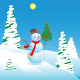 Snowman with a New Year tree Stock Images