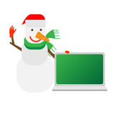 Snowman next to a laptop Royalty Free Stock Image