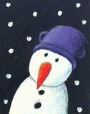 Snowman in the night. Acrylic illustration of snowman in the night Stock Photos