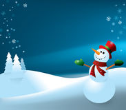 Snowman (night background). Illustration of a happy snowman with his arms raised. Lots of room to write your own message Stock Photo