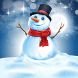 Snowman night Stock Image