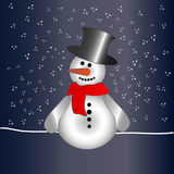 Snowman in night Royalty Free Stock Photo