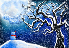 Snowman and night sky Royalty Free Stock Photo