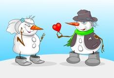 SNOWMAN OCH FLICKA stock illustrationer