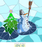 Snowman och julgran Royaltyfri Bild