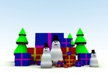 Snowman och julklappar 8 Arkivbild