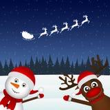 Snowman och ren vektor illustrationer