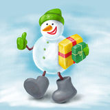 Snowman with ok Royalty Free Stock Photo