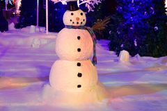 Free Snowman On Ice Floor On Holiday Trees Background In International Drive Area, Stock Photography - 132245502