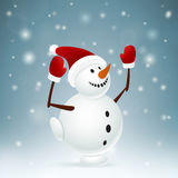 Snowman on one leg Royalty Free Stock Image