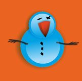 Snowman. On orange background. Vector illustration Royalty Free Stock Image